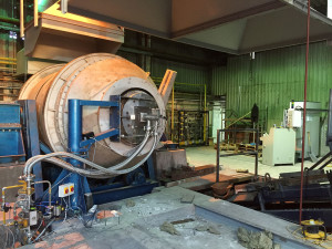 Oxy‐fuel burner installed in rotary melting furnace