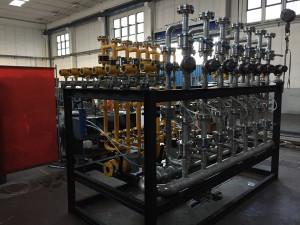 Preassembled valve skid for Glass melting furnace